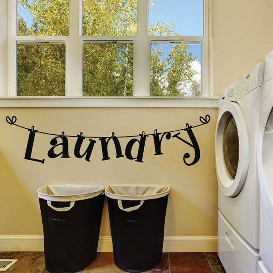 """Laundry Room Wall Decals """"Laundry"""" - by luxeloft ... #LaundryRoom; #WallDecal"""