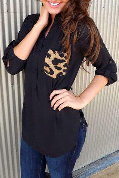 Fashion Single-breasted Patchwork Leopard Pocket Design Solid Black Chiffon Shirt