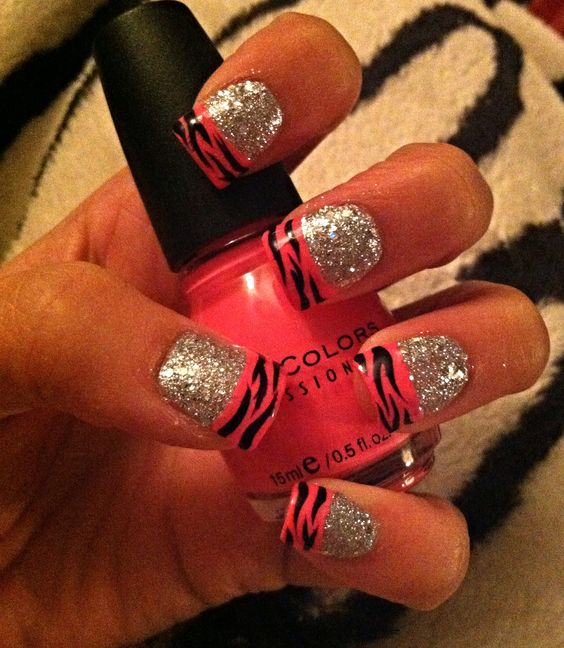 hot pink and black zebra print french tip nails with ...