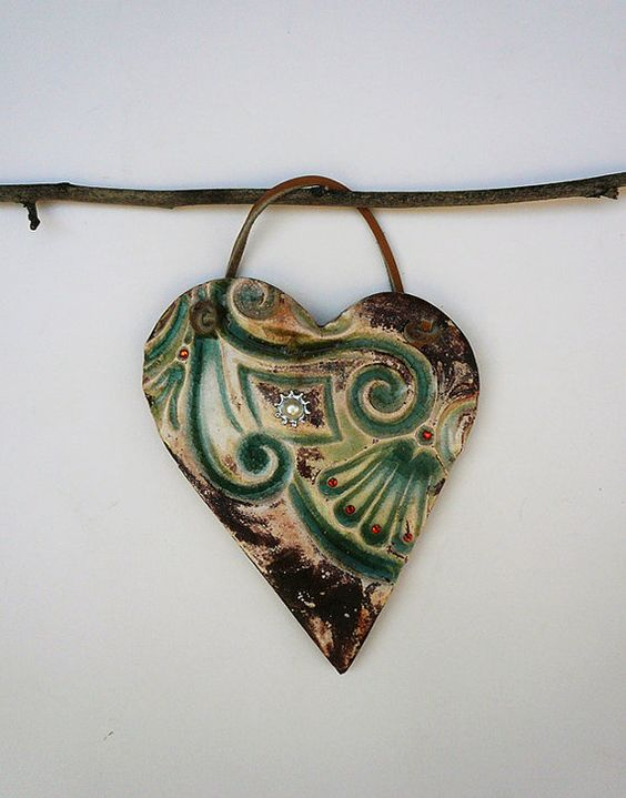Contemporary Green Heart Flower Wall hanging by Ceramystica