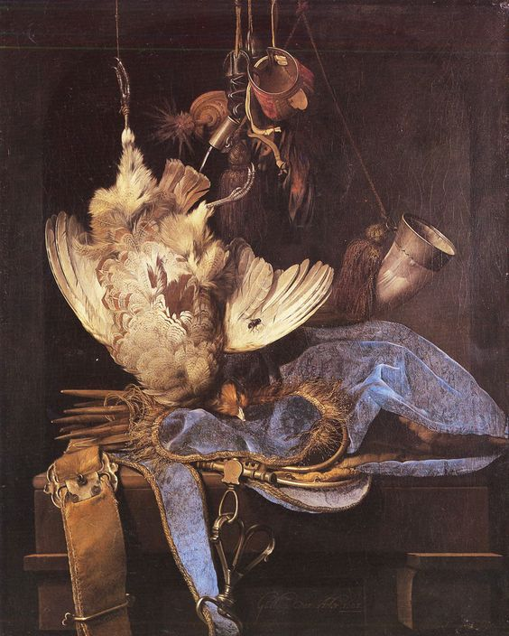 Willem van Aelst - Title: Still Life with Hunting Equipment - Date: 1668 - Location: Karlsruhe, Kunsthalle - Buy this painting as premium quality canvas art print from Modarty Art Gallery. #art, #canvas, #design, #painting, #print, #poster, #decoration