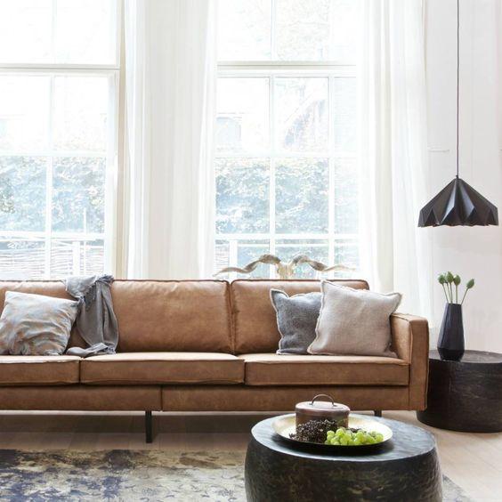 Trang trí nội thất sofa da thật tphcm hình chữ nhật