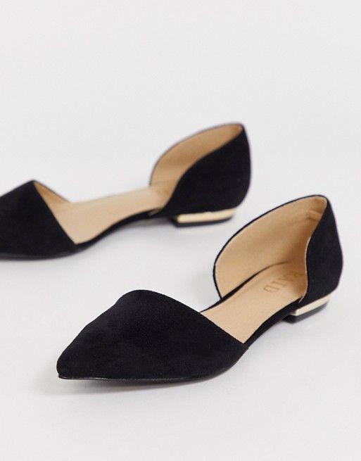 Черные замшевые туфли на плоской подошве RAID | ASOS