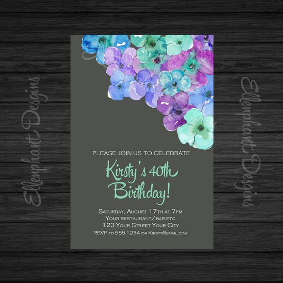blue green amp purple floral 40th birthday invitation by