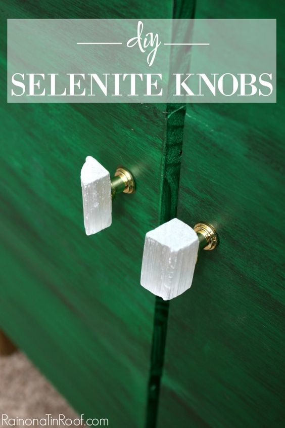 These DIY Selenite Knobs are GORGEOUS! Plus, they cost LESS than $1 per knob to make and take less than 5 minutes to make.