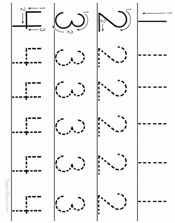 Number Tracing Worksheet Numbers 1 to 4 – Alphabet Worksheets for Kindergarten Free