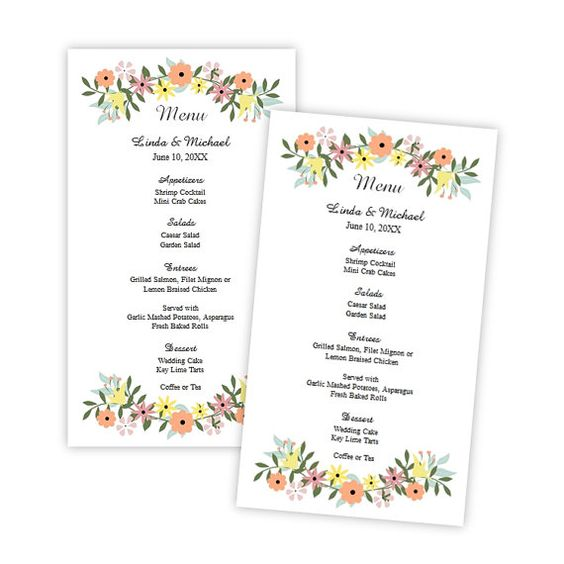Wedding Menu Card Template Country Flowers Menu Card by AJsPrints - how to make a food menu on microsoft word