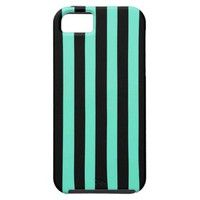 Turquoise |Black  Vertical Stripes Iphone Case |