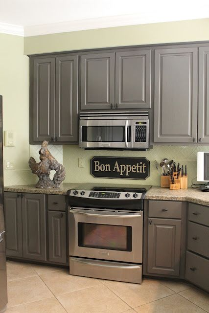 Love the gray cabinets with the pale mint green courtney for Grey and brown kitchen