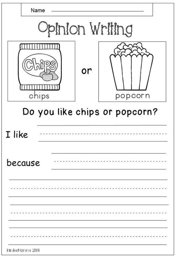 Free Opinion Worksheet Kindermomma Com Elementary Writing Second Grade Writing Persuasive Writing Writing worksheet for first grade