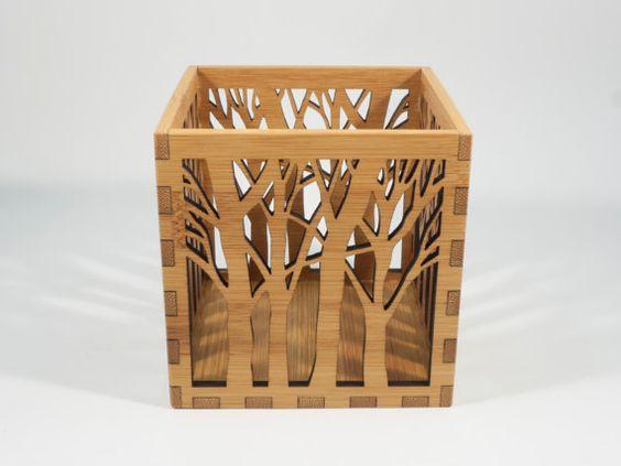 Wooden Tea Light Lantern / Holder With Tree by BeamDesigns