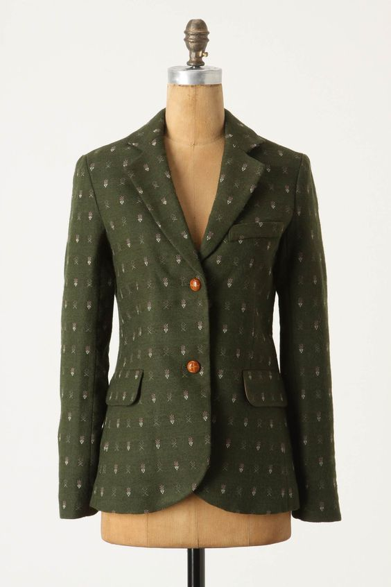 Wool blazer with woven sprig print and leather buttons. By Madchen, $268.