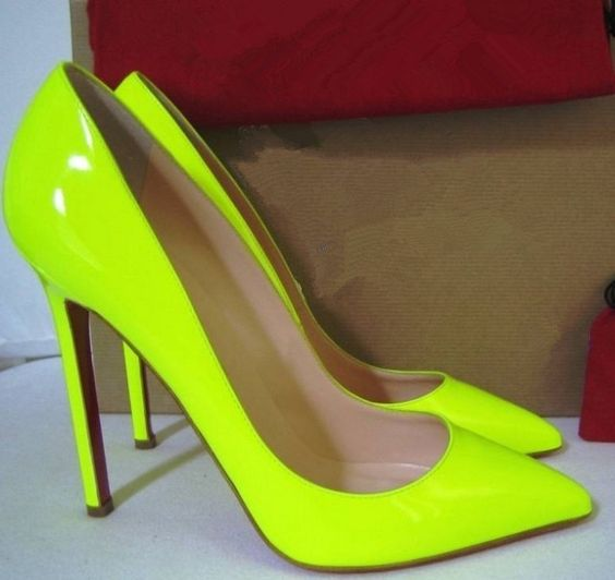 white spiked louboutin pumps - Christian Louboutin Pigalle Neon Yellow Patent Leather Pumps ...