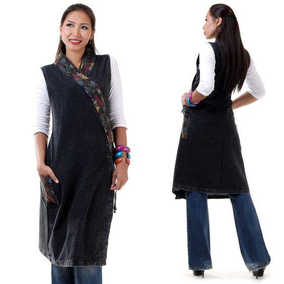 Hippie boho ethno kimono longshirt tunika schwarz - Kimono schnittmuster kostenlos ...