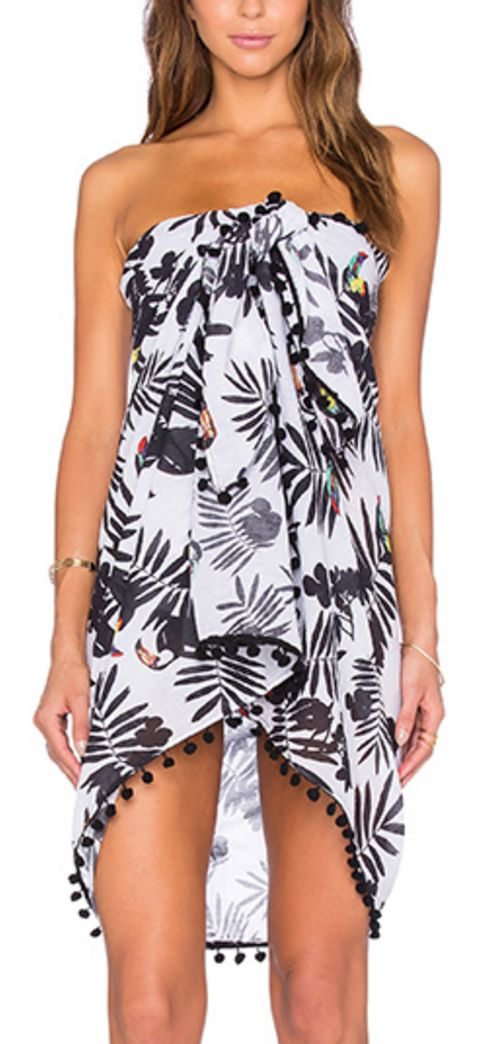 Black, White, and Toucan Print, fringed Sarong
