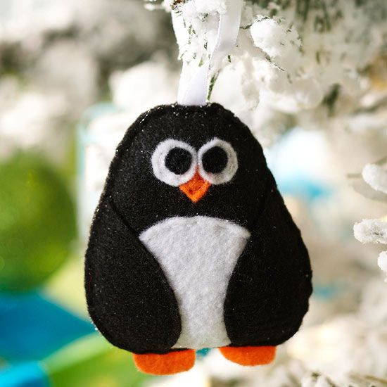 This adorable character makes a charming addition to your tree or as a too-cool present topper! http://www.bhg.com/christmas/ornaments/easy-christmas-ornaments/?socsrc=bhgpin122314feltpenguinornament&page=15: