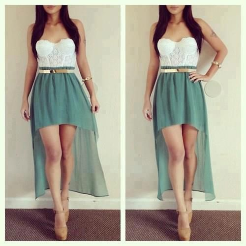 High low skirt & lace bustier