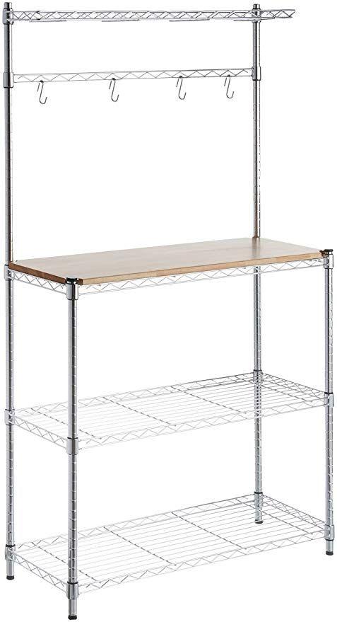 Amazon Com Amazonbasics Kitchen Storage Baker S Rack With Table Wood Chrome 63 4 Height Home Kitchen In 2020 Kitchen Storage Bakers Rack Storage Shelves
