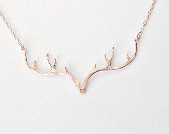 Fille rose Gold Antler collier Deer Antler bijoux Rose or collier mariage cadeau pays bijoux de demoiselle d'honneur