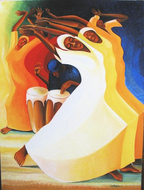 "Flow with the Rhythm, ©Bernard Stanley Hoyes (the Lamentations and Celebrations of Jamaican Revival Worship) -""The intention is to show where we gather our strength in all the trials and tribulations we have to endure. The strength comes from the commonality of our spiritual seeking. That's one of the reasons I group the figures together and put them kind of like solid. They feel like one. You need all these bodies together to evoke the strength of what it takes to have a spiritual community."":"