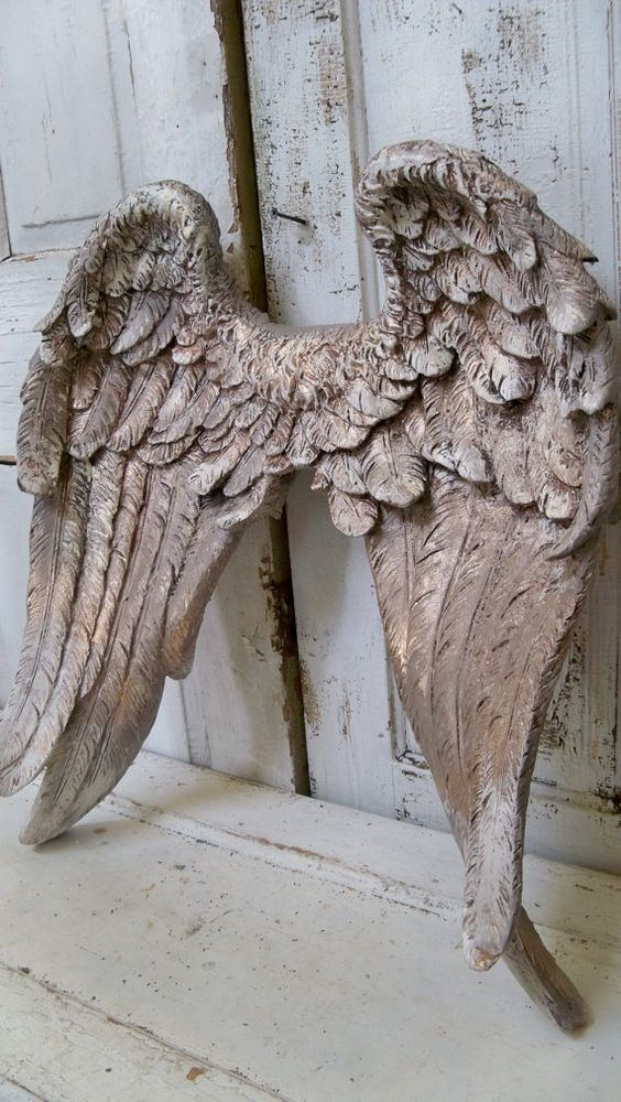 Large angel wings wall sculpture hand painted putty gray for Angel wings wall decoration
