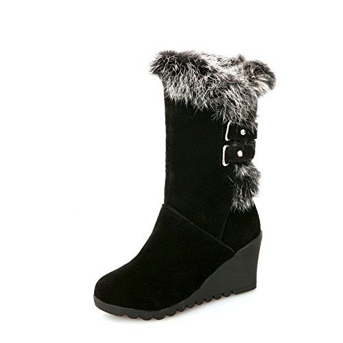 WeenFashion Womens Round Closed Toe High Heels Nubuck Leather Boots with Double Breasted and Fur Ornament, Black, 5.5 B(M) US * See this great product. http://www.amazon.com/gp/product/B00OVQLU7Q/?tag=clothing8888-20&pvw=250916034833