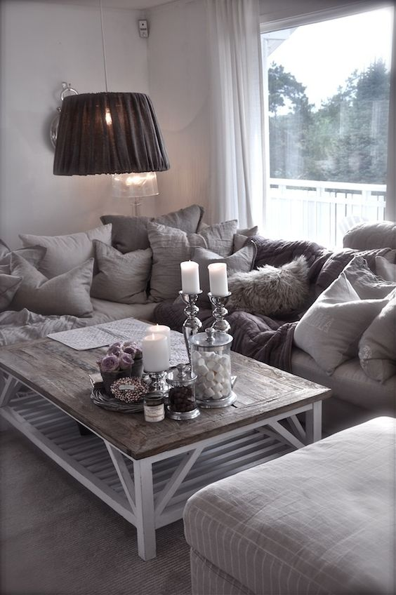 Country glam living room living room pinterest jars grey and love the - Gorgeous pictures of black white and grey living room decoration ideas ...