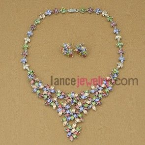Elegant drop earrings and necklace set with mix color zirconia beads