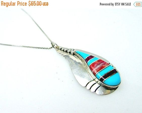 ❘❘❙❙❚❚ ON SALE ❚❚❙❙❘❘   Serendipity Treasures presents This sterling silver turquoise pendant on a sterling silver Italy chain. The pendant is an Native American style st... #necklace #vintage #teamlove #tribal