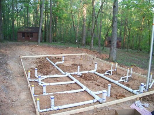 The Under Slab Plumbing For A New Plumbing House Plan Gallery Building Construction