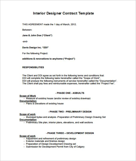 Residential Interior Designer Contract Template - Download this - project contract template