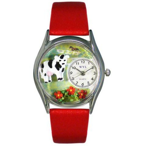 Whimsical Womens Cow Black Leather Watch
