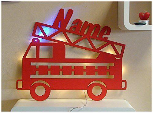 """Schlummerlicht24 Nachtlicht """"Feuerwehr Blaulicht"""" mit Name nach Wunsch, ideales Geschenk für Feuerwehrauto-Fans, als Deko-Lampe zum Zimmer verschönern, handgemacht"""