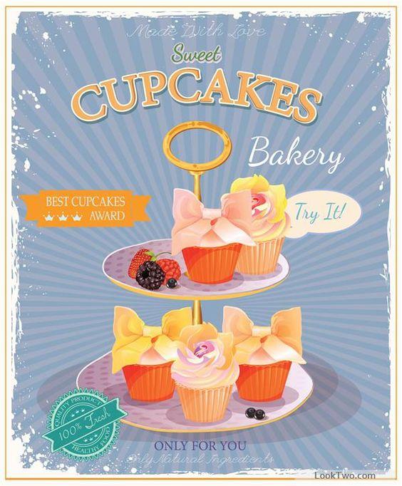 Retro advertising poster cupcakes vector 03 free vector download