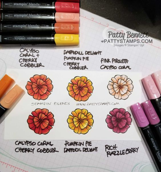 New! Stampin' Blends alcohol markers - playing with color combos for the Falling Flower stamp set from Stampin' UP!, by Patty Bennett