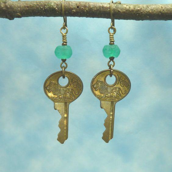 Handmade Earrings   Vintage Key by Hyacinthsbyme on Etsy, $12.00
