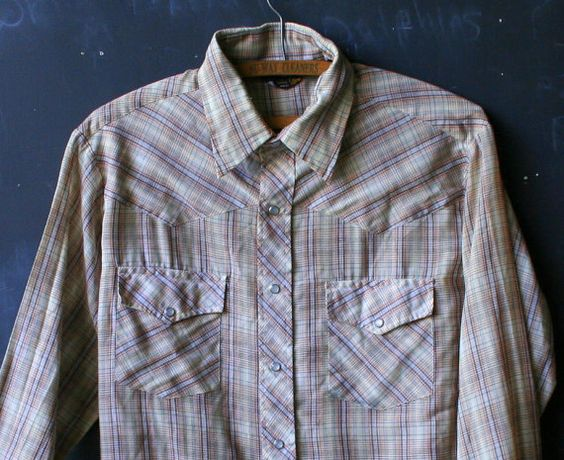 Vintage Mens Long Sleeve Shirt Western Style Plaid by nowvintage