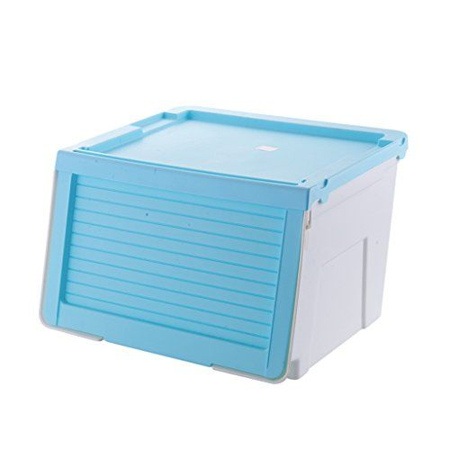 Tyjy Thickened Front Open Plastic Storage Box With Lid And Wheels Stackable Color Blue Size 44 7 39 Plastic Box Storage Storage Boxes With Lids Storage