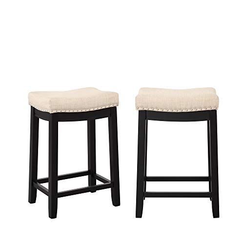 Knocbel 2 Pc 27 Inch Counter Height Bar Stools Linen Upholstered
