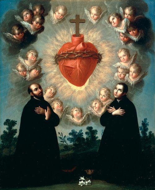 Sacred Heart of Jesus with Saint Ignatius of Loyola and Saint Aloysius Gonzaga. c1770 Jose de Paez