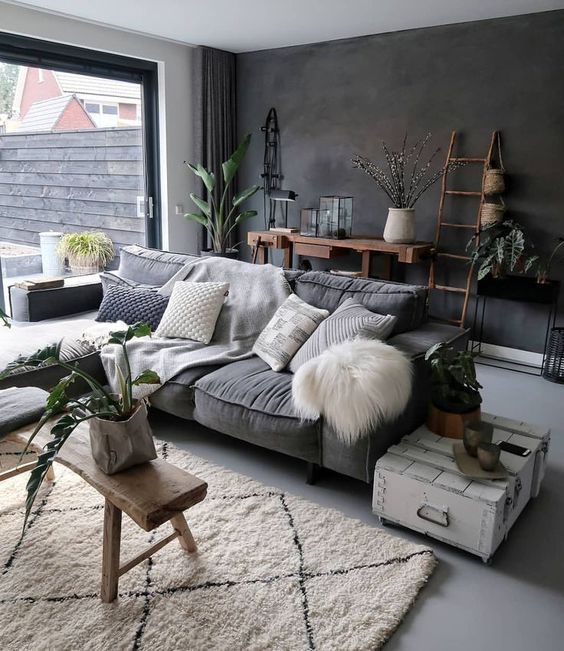 The Charcoal Grey Color Code You Need In Your Home Space Masculine Living Rooms Living Room Grey Rustic Living Room
