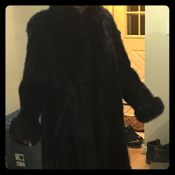 "Fur Coat Floor length mink coat with fox collar and wrist. Size small on tag but fits sizes 12-14. Model is 5'7"" Jackets & Coats"