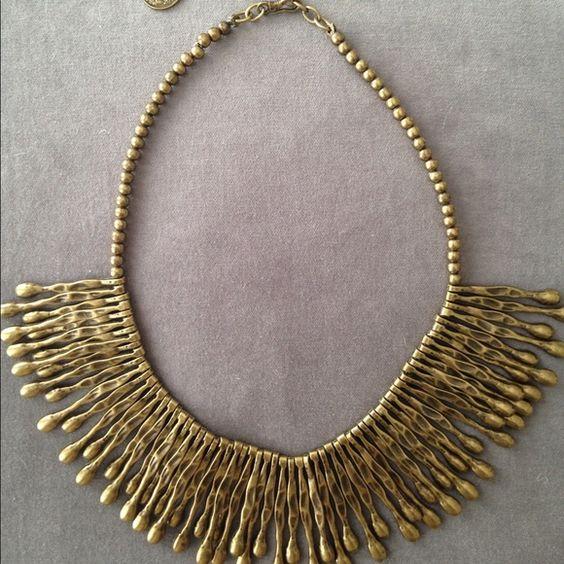 """Boho bronze finish fringe necklace Unique necklace with 2"""" fringe bib Chanour Jewelry Necklaces"""