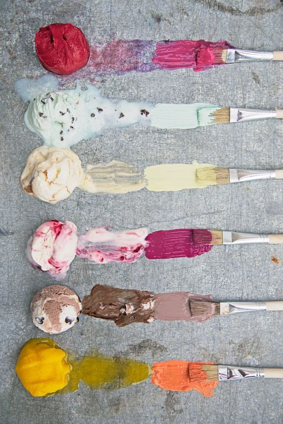 Painting with ice cream- now thats creative! And so FUN!