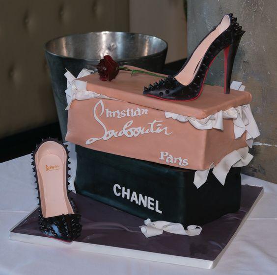 Cake shoe boxes with sugar Louboutin shoes . Gumpaste tissue paper