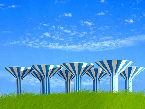 Kuwait Water Tower, they are pretty white and blue like that but there was no grass lol
