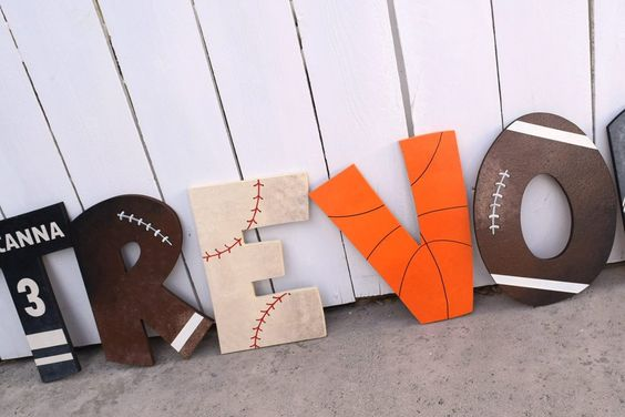 Personalized Wood Letters - Vintage Sports Theme with Baseball, Football, Basketball