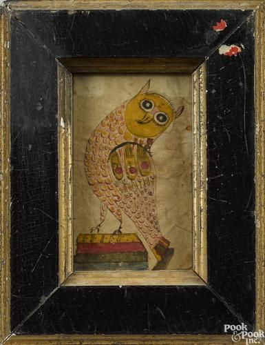 Southeastern Pennsylvania ink and watercolor fraktur, early 19th c., of an owl perched atop a stack of books, 4 3/8'' x 2 5/8''. A similar example was so