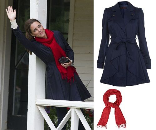 Kate Middleton blue trench coat, red scarf