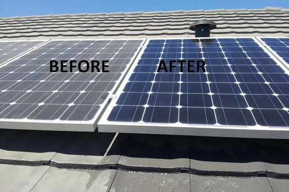 Tấm pin mặt trời trước và sau khi vệ sinh